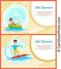 nyár, színes, kép, sport, víz, csípős, elfoglaltság