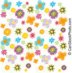 nyár, színes, motívum, vektor, friss virág