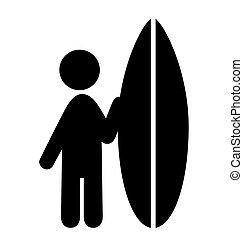 nyár, szörfözás, emberek, ikonok, elszigetelt, lakás, víz, pictograms, fehér, sport