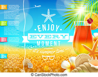 nyár szünidő, ünnepek, vektor, tervezés, utazás