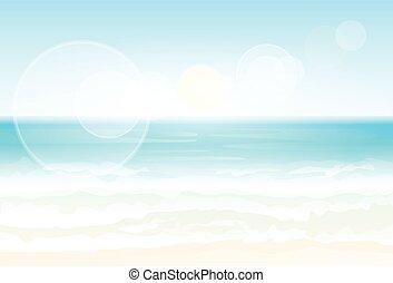nyár szünidő, tengerpart, homok, vektor, tenger,...