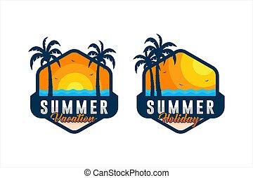nyár szünidő, vektor, gyűjtés, tervezés