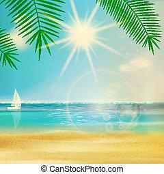 nyár, szüret, tengerpart, design.