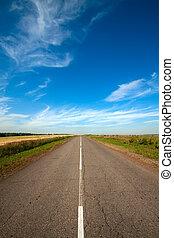 nyár, táj, noha, vidéki út, és, cloudy ég