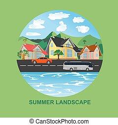 nyár, táj, város, vektor