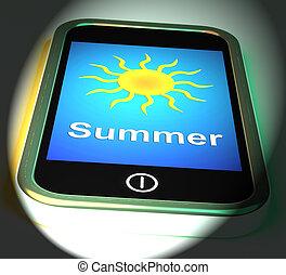 nyár, telefon, kitesz, summertime idő, évad