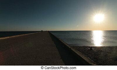 nyár, tengerpart, elgáncsol, út