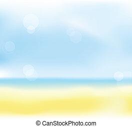 nyár, tengerpart, háttér, elhomályosít