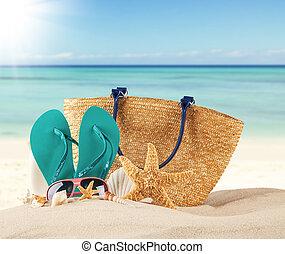 nyár, tengerpart, noha, kék, szandál, és, látszat