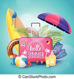 nyár, tengerpart szünidő, háttér, poszter