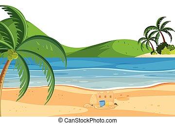 nyár, tengerpart táj