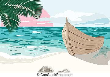 nyár, tengerpart, tenger, csónakázik