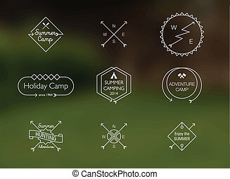 nyár, themed, tábor, sovány megtölt, jelvény
