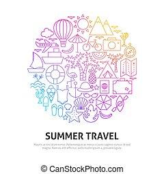 nyár, utazás, fogalom, karika