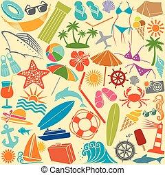 nyár, utazás, seamless, motívum