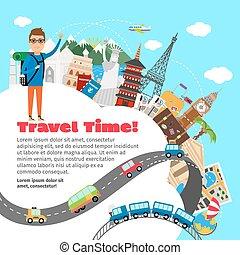 nyár, utazás, tervezés, szünidő, világ