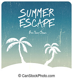 nyár, utazás, vektor, illustration.