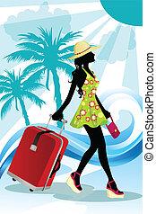 nyár, utazó, nő