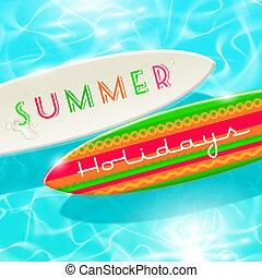 nyár, vektor, tervezés, ünnepek