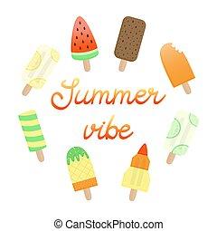 nyár, vibe, lolly, jég