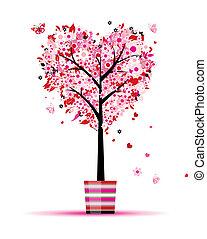 nyár, virágos, fa, szív alakzat, alatt, edény, helyett, -e,...