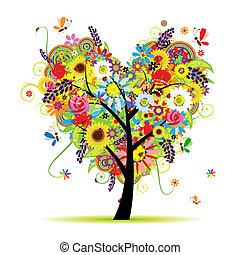 nyár, virágos, fa, szív alakzat