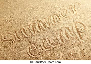 nyári tábor, kézírásos, alatt, egy, tengerpart homok