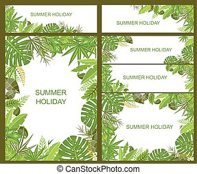 nyárias, tropikus, zöld, szalagcímek
