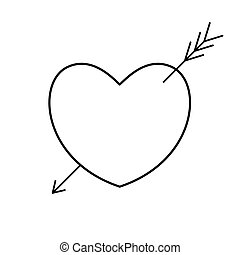 nyíl, cupid)., erosz, (amour, szív, arrow.