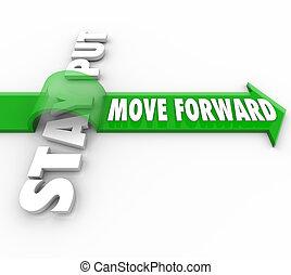 nyíl, lépés, megállít, dobás, vs, szavak, előmozdít, ...