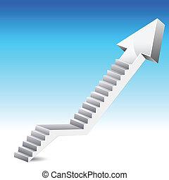 nyíl, lépcsőfok