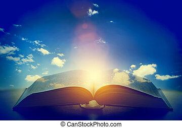 nyílik, öreg, könyv, fény, alapján, a, ég, heaven., oktatás, vallás, fogalom