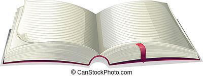 nyílik, üres, könyv