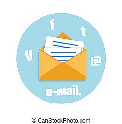 nyílik, boríték, noha, elektronikus posta, aláír, betanul