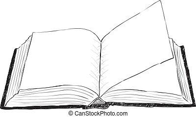 nyílik, durva, könyv, -, ábra