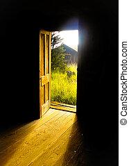 nyílik, eshetőségek, ajtó, fény