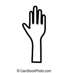 nyílik, ikon, kéz, megáll gesztus, emelt, emberi