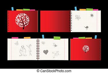 nyílik, jegyzetfüzet, fedő, apródok, tervezés