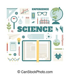 nyílik, körülbelül, állhatatos, science., könyv