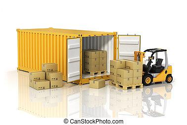 nyílik, konténer, noha, targonca, stacker, rakodómunkás, birtok, kartonpapír, őőő