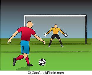 nyílik, lövés, gól