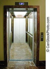 nyílik, lift, alatt, elit, eleven, épület
