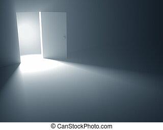 nyílik, szabadság, ajtó