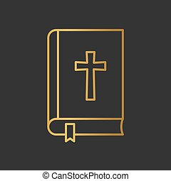nyílik, vektor, biblia, könyv, icon-, ábra