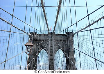 A few of the cables of the Brooklyn Bridge, New York
