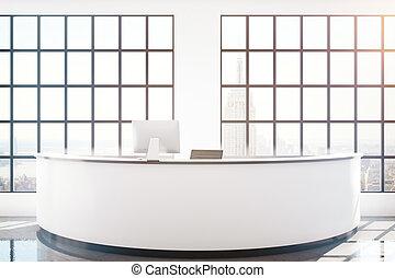 ny, escritorio, recepción, vista