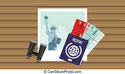ny picture with set travel items ,hd video animation