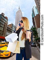 ny, shopaholic, telefon, mówiąc, blond, dziewczyna, aleja,...