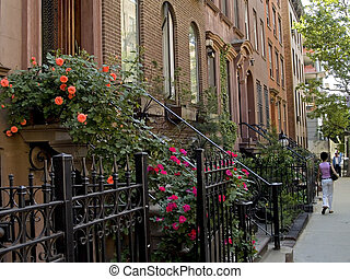NY Sidewalk - A nice New York City neighborhood of well kept...