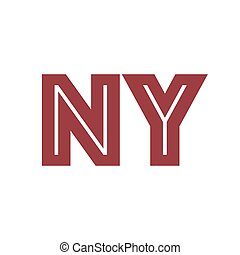 NY sign inscription grunge style, vintage colors